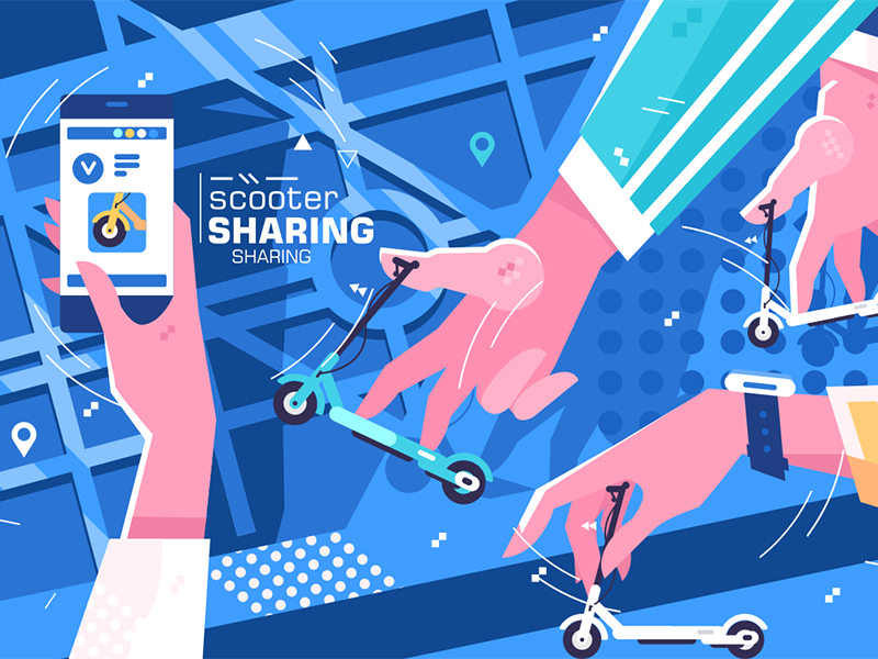 Scooter sharing online system rental app mobile smartphone online sharing scooter kit8 flat vector illustration