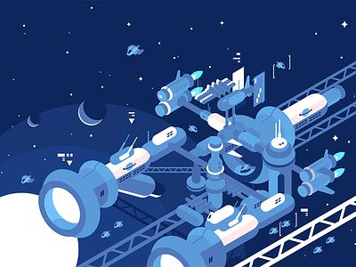 Orbital stations orbiting moon space cosmos spaceship planet moon station orbital kit8 flat vector illustration