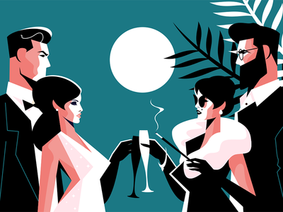 Stylish forties concept party character woman man fashion party forties stylish kit8 flat vector illustration
