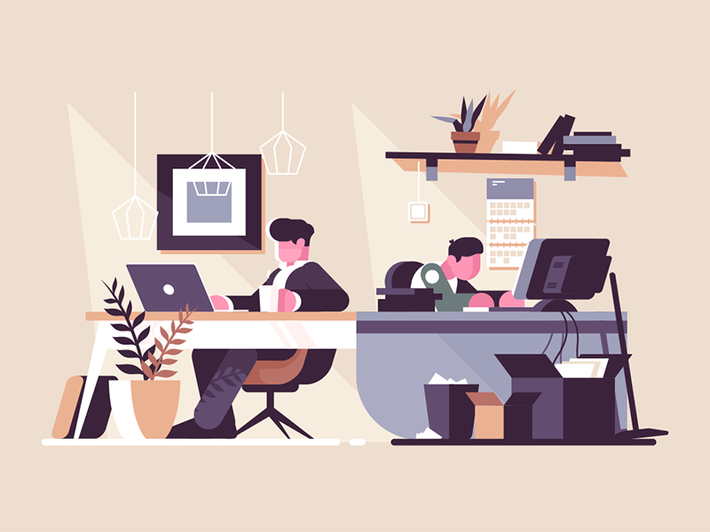 Creative office co-working center character interior people workplace office creative kit8 flat vector illustration