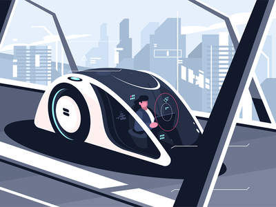 Relaxed man driving by smart car driverless character vehicle autonomous car smart driving man relaxed kit8 flat vector illustration