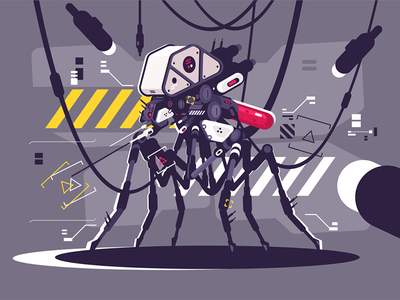 Cybernetic robot mosquito drone character drone futuristic flying cyborg mosquito robot cybernetic kit8 flat vector illustration