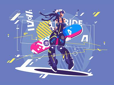 Girl in sportswear with snowboard character sport kind winter snowboarder woman young snowboard sportswear girl kit8 flat vector illustration