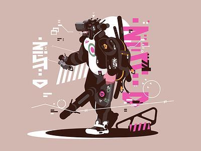 Robot drone mercenary character futuristic cyborg automated mechanized mercenary drone robot kit8 flat vector illustration
