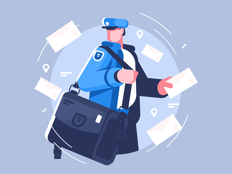 Postman with bag delivering letters character uniform man letter delivering bag postman kit8 flat vector illustration