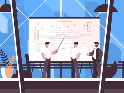 Man engineer showing on blackboard character drawing presentation worker blackboard engineer man kit8 flat vector illustration