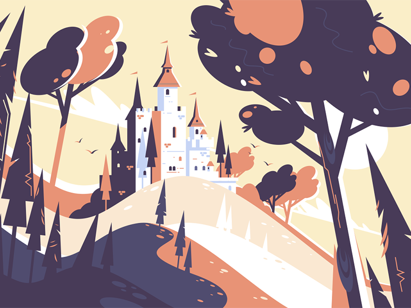 Old fairytale castle tree chateau landscape hill castle fairytale old kit8 flat vector illustration