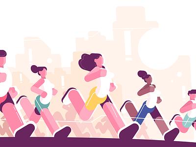 Men and women training to marathon character runner people jogging marathon woman man kit8 flat vector illustration