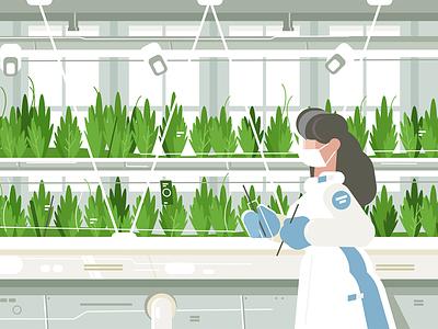 Eco farm with aquaponics system character girl growing vegetable planting system aquaponics farm eco kit8 flat vector illustration