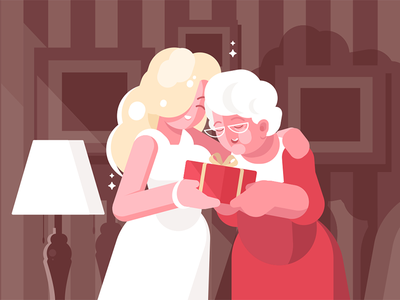 Woman giving present to her mother character aged parents family mother present woman blonde kit8 flat vector illustration
