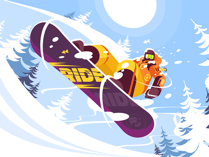 Jumping snowboarder in trendy suit character sport winter sportswear man snowboarder jumping kit8 flat vector illustration