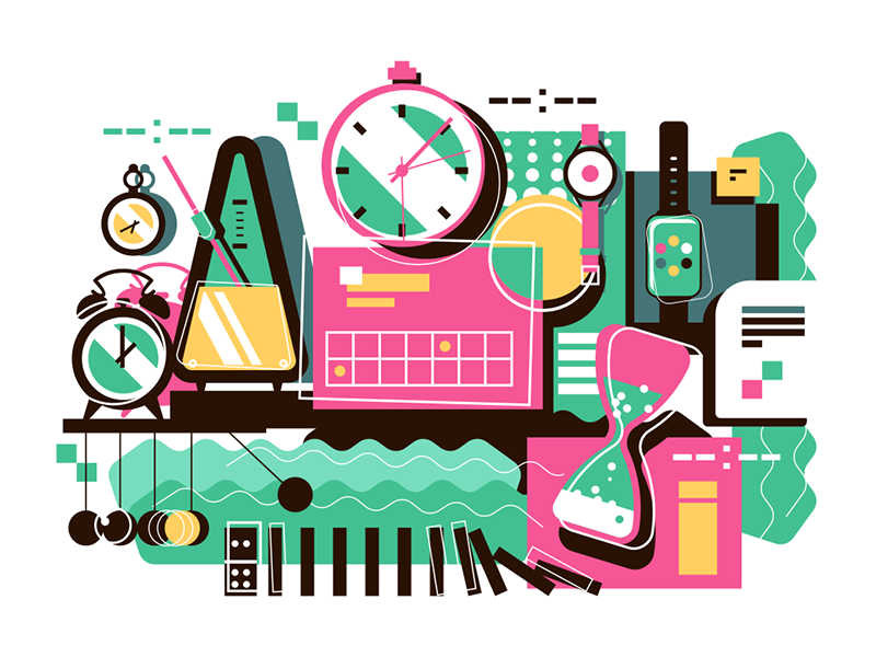 Collection of different time devices abstract background sandglass clock time kit8 flat vector illustration