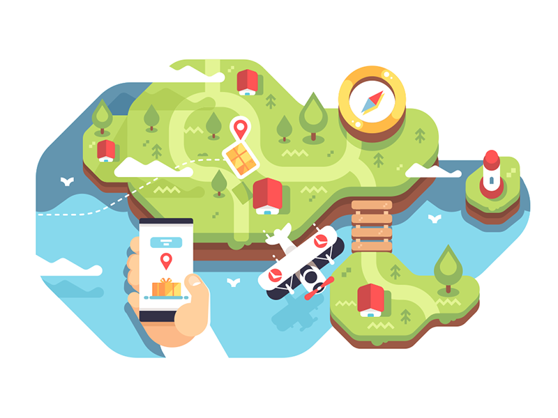 Delivery tracking application hand tracking delivery app smartphone mobile kit8 flat vector illustration