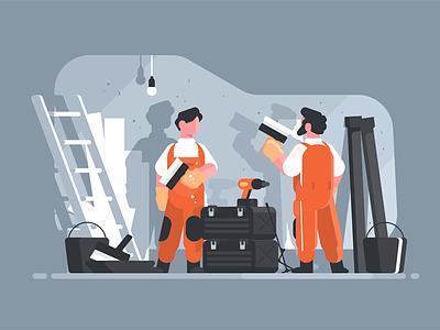Apartment repair character equipment repairman interior repair home kit8 flat vector illustration