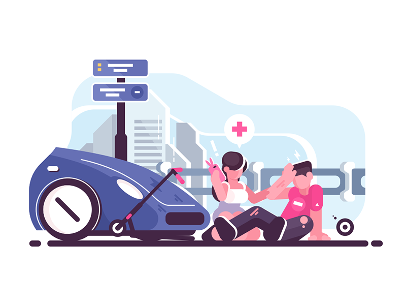 Traffic accident character man woman collision scooter car accident traffic kit8 flat vector illustration
