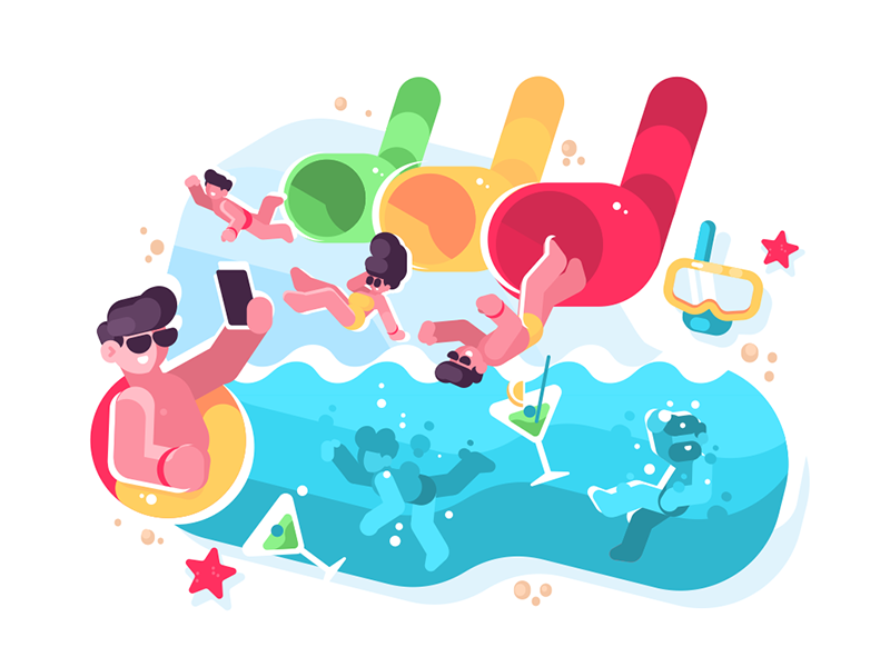 People having fun at aquapark character women men aquapark slides water fun people kit8 flat vector illustration