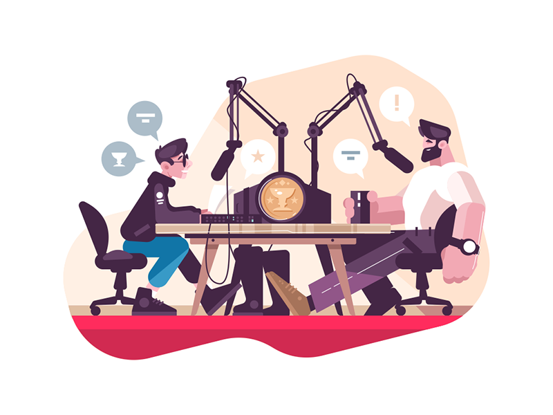 Radio presenter interviewing man character microphone studio man interviewing presenter radio kit8 flat vector illustration