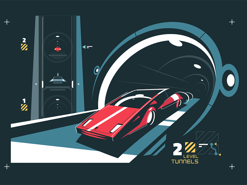 Two levels cars tunnel with map auto traffic map tunnel car level two kit8 flat vector illustration