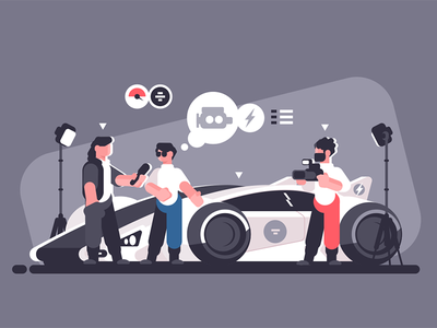 Auto review character journalist car man review auto expert interview media mass kit8 flat vector illustration