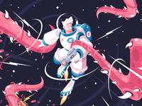 Astronaut illustration and drawing process