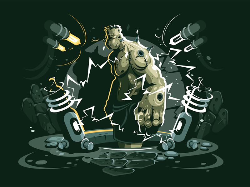 Frankenstein kit8 flat vector illustration monster ugly character cartoon frankenstein