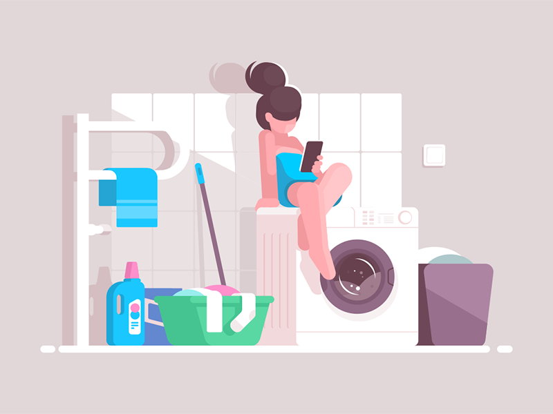Girl using smartphone in bathroom kit8 flat vector illustration character machine washing woman bathroom smartphone girl