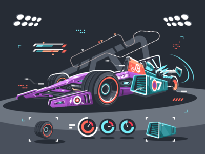 Racing car of F1 bolide race supercar f1 car racing kit8 flat vector illustration