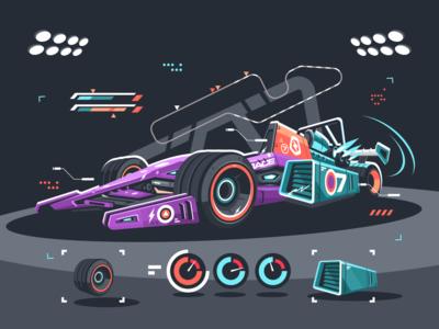 Racing car of F1 bolide race supercar f1 car racing kit8 flat vector illustration