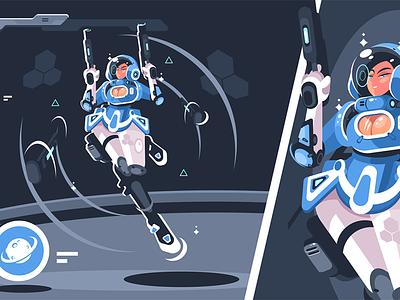 Cartoon girl with blaster gun kit8 flat vector illustration character weapon suit space woman gun blaster girl