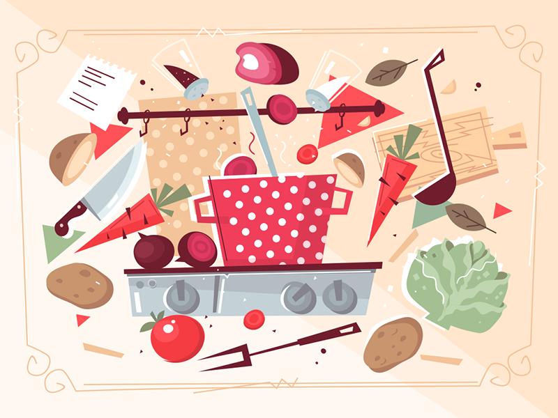 Kitchen pattern with food and kitchenware kit8 flat vector illustration vegetables kitchenware food pattern kitchen