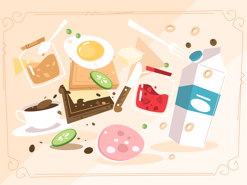Products for cooking breakfast food pattern butter peanut jam sausage egg milk breakfast cooking product kit8 flat vector illustration