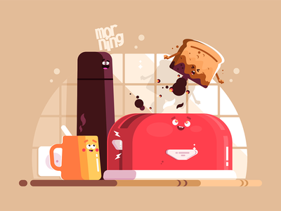 Electric toaster with slice of toasted bread food background cup bread toasted toaster electric kit8 flat vector illustration