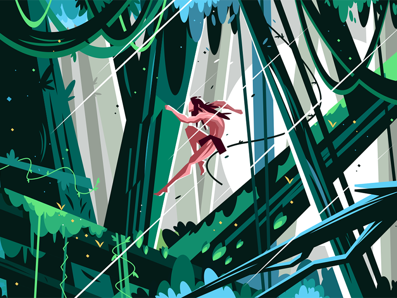 Wild man jumping in jungles kit8 flat vector illustration character jungles jumping man wild