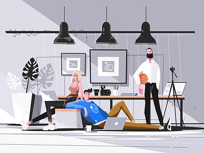 Designers working in studio kit8 flat vector illustration character woman man studio working designer