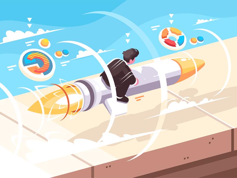 Businessman flying on rocket kit8 flat vector illustration character startup rocket flying businessman