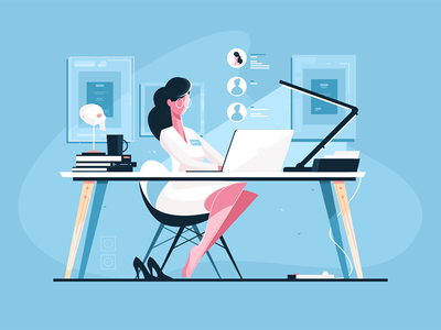 Modern doctor at workplace kit8 flat vector illustration character uniform woman workplace doctor