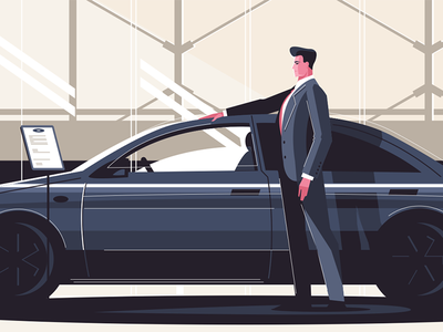 New car sale center kit8 flat vector illustration character seller man center sale car new