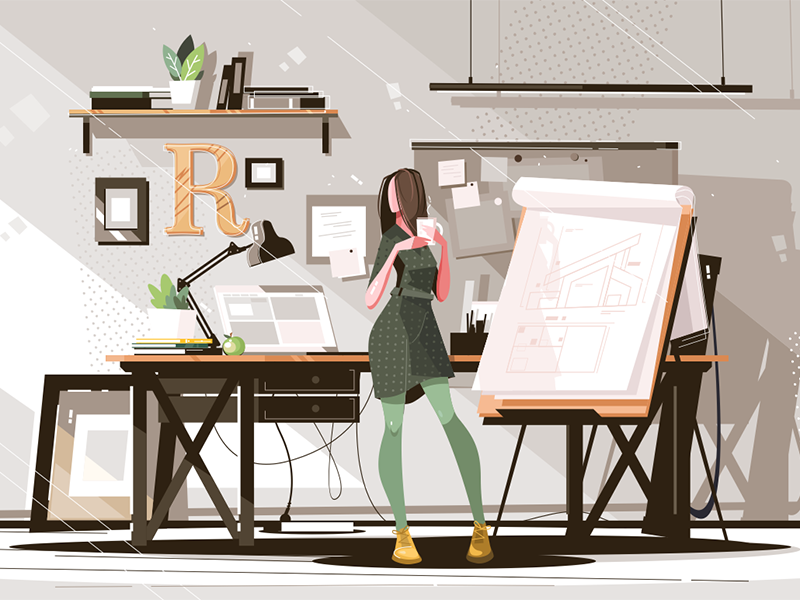 Girl architect working on project kit8 flat vector illustration character project working architect girl