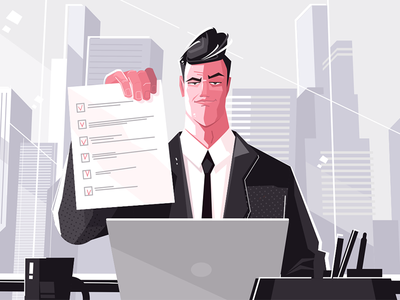 Confident man with checklist kit8 flat vector illustration character checklist man business confident