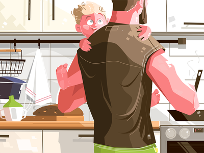 Father with kid kit8 flat vector illustration character child cooking dad lonely kid father