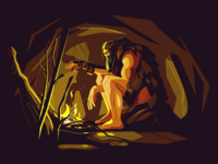 Caveman near bonfire