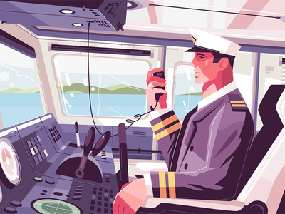 Captain's cabin on ship kit8 flat vector illustration character ship cabin captain
