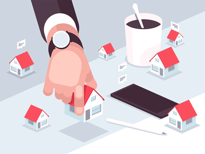 Property market kit8 flat vector illustration character house realtor agent market property