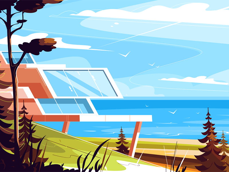 Designer house on seashore kit8 flat vector illustration architecture seashore house designer
