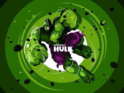 The Hulk design man flat illustration kit8 fanart incredible green hero superhero avengers hulk character