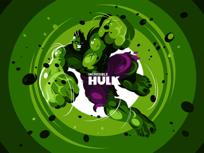 The Hulk design man flat illustration kit8 fanart incredible green hero superhero avengers hulk character