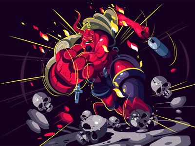 Hellboy gun comics warrior man character flat vector illustration kit8 hellboy