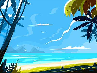Heavenly place landscape kit8 flat vector illustration seascape sea palm picturesque landscape