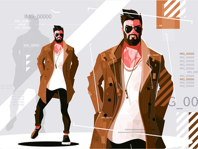 Stylish guy in coat kit8 flat vector illustration character bearded coat guy stylish