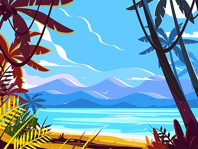 Paradise beach landscape kit8 flat vector illustration background seashore trees palm tropical landscape beach